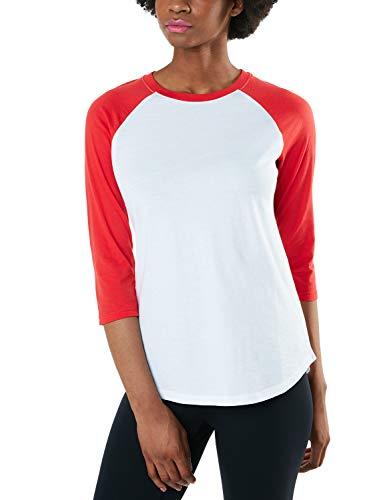 TSLA Damen 3/4 Arm T-Shirt, dynamisches Raglan T-Shirts aus Baumwolle, leichte Outdoor Performance Baseball T-Shirts, Fts32 1pack - White & Red, XL