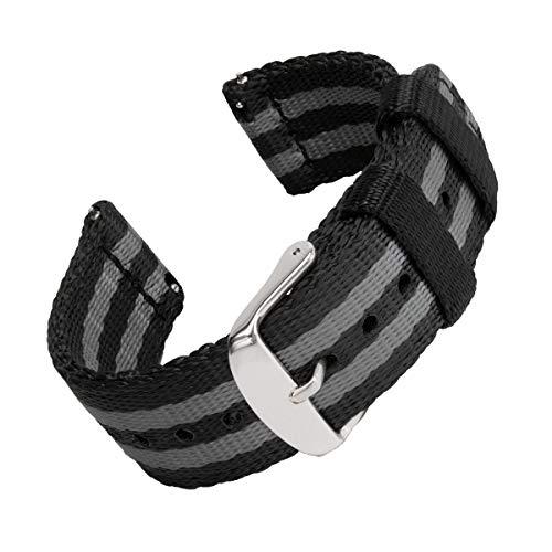 Archer Watch Straps | Cinturón de Seguridad Correa de Reloj de Nailon para Hombre y Mujer, Correa Fácil de Abrochar para Relojes y Smartwatch | Negro y Gris (James Bond), 22mm