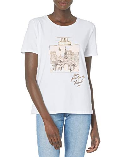 Karl Lagerfeld Paris Damen Perfume Bottle Tee T-Shirt, Weiches Weiß, solide, X-Klein