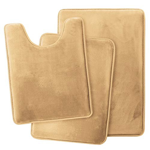 Clara Clark Memory Foam Bath Mat Ultra Soft Non Slip and Absorbent Bathroom Rug, Set of 3 - Small/Large/Contour, Camel Gold, 3 Count