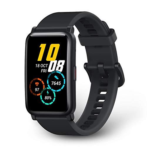 HONOR Watch ES Smartwatch 1,64 Zoll AMOLED-Display, Fitness Tracker Herzfrequenzmessung SpO2&Druck Monitor, Sportuhr Watch Bluetooth Telefonie Intelligente Uhr 5ATM Wasserdicht Damen Herren, Schwarz