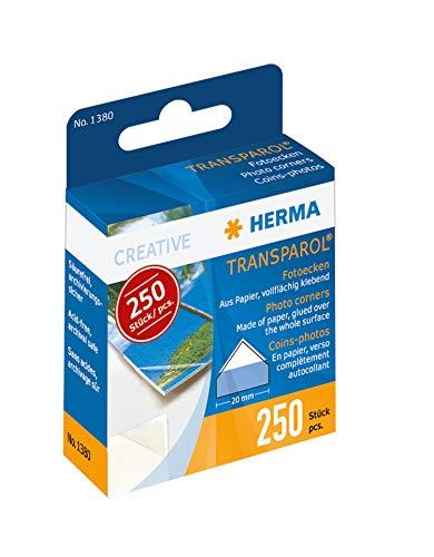 HERMA 1380 Transparol Fotoecken selbstklebend (20 mm, transparent) in Spendepackung, Klebstoff lösemittel- und säurefrei, 250 Stück