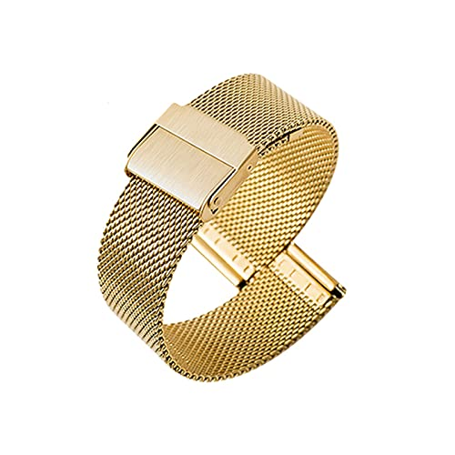 Ultra Thin Universal Premium Stainless Steel Mesh Metal Buckle Watch Straps for Men Women Quick Release Adjustable Mesh Watch Bands Wristband Belt Compatible with Most Watches,Gold,18mm