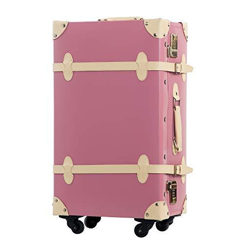 TANOBI トランクケース スーツケース キャリーバッグ SSサイズ機内持ち込み可 復古主義 おしゃれ 可愛い 13色4サイズ (マカロンピンク×ベージュ, Mサイズ(3−5泊))
