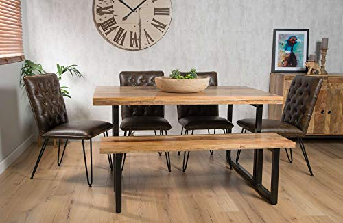 Casa Bella Furniture Industrial Wood & Metal 6-Seater 180cm Dining Bench Set - Aged Leather Chairs