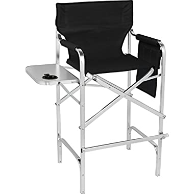 Trademark Innovations 45  Aluminum Frame Tall Metal Director's Chair With Side Table by (Black)