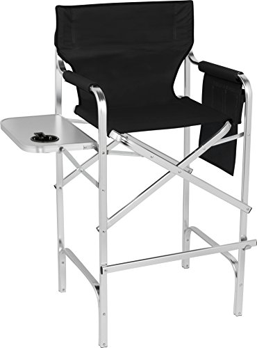 "Trademark Innovations 45"" Aluminum Frame Tall Metal Director's Chair with Side Table (Black)"