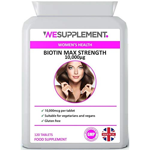 Biotin Hair Growth Supplement 10,000mcg - 120 Tablets - for Healthy Hair, Skin & Nails - High Strength - Suitable for Vegetarians & Vegans - UK Made - GMP Certified