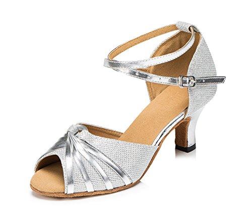 URVIP Nowości damskie buty z cekinami, na obcasie, nowoczesne buty latynoskie z paskiem na kostkę, buty do tańca LD062, srebrny - srebro - 40 EU