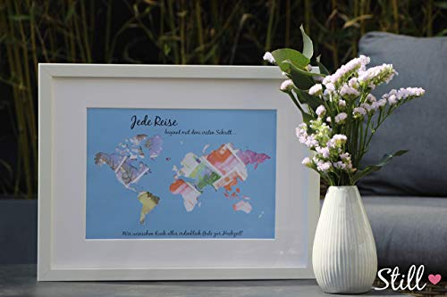 Geldgeschenk zur Hochzeit *Weltkarte* inkl. Rahmen