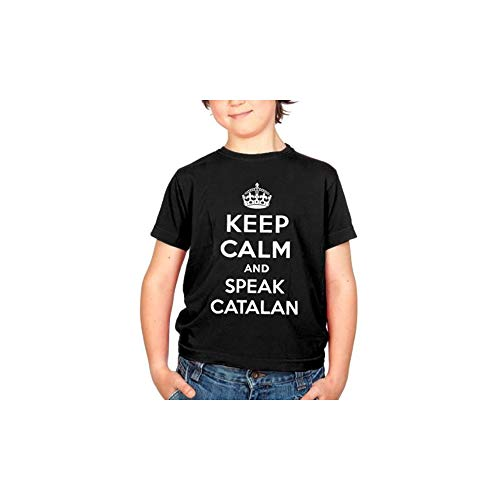 Keep Calm and Speak Catalan Camiseta Original Niño/a (Negro)