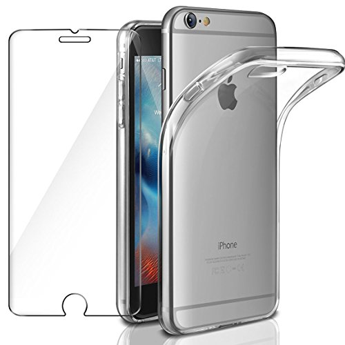 AROYI Funda iPhone 6 Plus, Protector de Pantalla iPhone 6 Plus, Transparente Carcasa Suave TPU Silicona Gel Ultra Fina, Anti-Arañazos Protección Funda para iPhone 6 Plus/iPhone 6s Plus (Transparente)