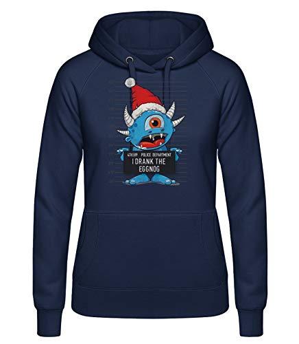 Shirtinator, Monster I Drank The Eggnog, Pullover Hoodie Damen, Geschenkideen Weihnachten Geburtstag, blau, XXL