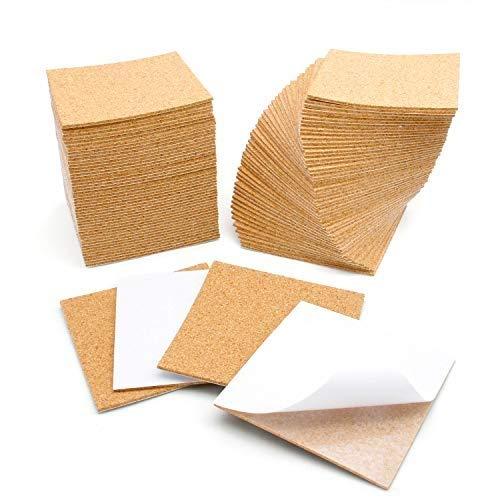 Blisstime 100 Pcs Self-Adhesive Cork Sheets 4x 4 for DIY Coasters, Cork Board Squares, Cork Tiles, Cork Mat, Mini Wall Cork Board with Strong Adhesive-Backed