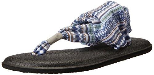 Sanuk Damen Yoga Sling#2 Prints Zehentrenner, Mehrfarbig (Lead Grey Lanai Blanket), 41 EU
