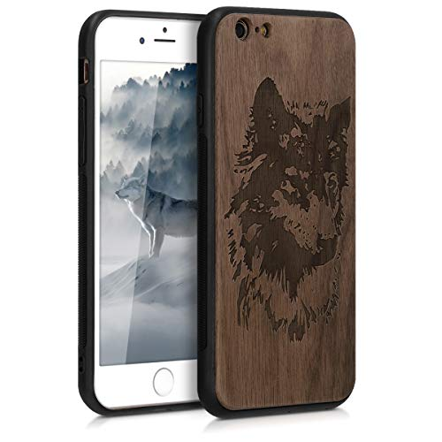 kwmobile Funda Compatible con Apple iPhone 6 / 6S - Funda de Madera de Nogal Rostro Lobo marrón/marrón Oscuro