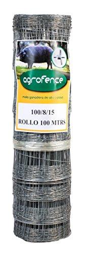 Malla metálica ganadera Agrofence 100/8/15 galvanizada (100 mts lineales por rollo).