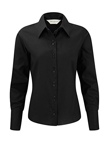 Russell Collection Absolut bügelfreie Langarm-Bluse R-956F-0 M,Black