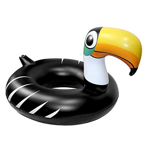 Sucastle Flotador Inflable para Piscina con Forma de Tucán Negro, con para Adultos niños Playa Fiestas de Piscina Juegos Decoraciones de salón terraza120x90cm