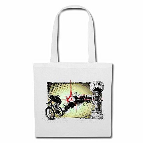 Tasche Umhängetasche Mountainbike FAHRRADFAHREN Adrenalin Fahrrad Mountainbike FAHRRADREPARATUR RADRENNSPORT FAHRRADTOUR BIKESHIRT Ride Einkaufstasche Schulbeutel Turnbeutel in Weiß