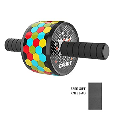 Ab Roller Wheel Honeycomb, Abdominal Exercise Wheel for Core Strength Training with Knee Mat, Wide Wheel with Sponge Handles, Skid Resistance, Silence, Pro Ab Workout Equipment for Home Gym