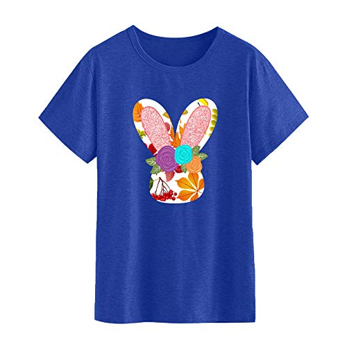 Benficial Women's Easter Printed Tunic Tops Women Short Sleeve Round Neck T Shirt Summer Casual Rabbit Pattern Pullover Tee Shirt Loose Tshirt Blouse Tops for Women Stylish Outfit for Easter