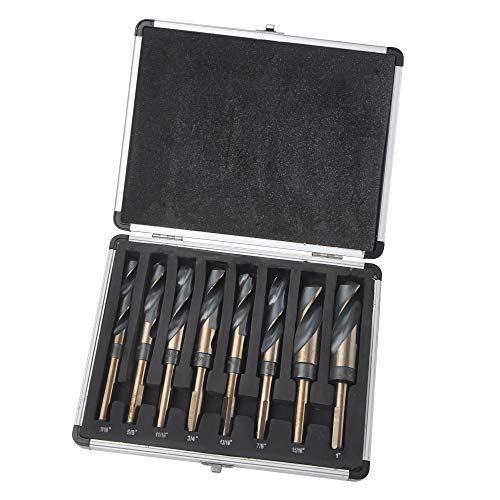 "8pc 1/2"" Shank Silver and Deming Drill Bit Set in Aluminum Carry Case, High Speed Steel (HSS) 