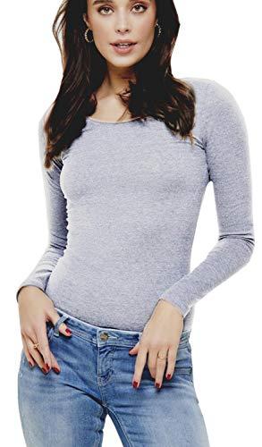 ONLY Damen Langarmshirt onlLIVE LOVE NEW LS O-NECK TOP NOOS, Grau (Light Grey Melange), 36 (Herstellergröße:S)