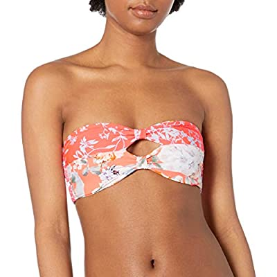 Maaji Women's Myth Reversible Four Way Knot Bandeau Bikini Top Swimsuit, Sirena Orange Floral, Large