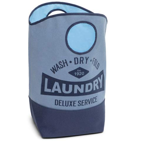 """Laundry Hamper Basket with Handles 24"""" x 24"""" Dirty Clothing and Storage Bins Blue/Navy Blue"""