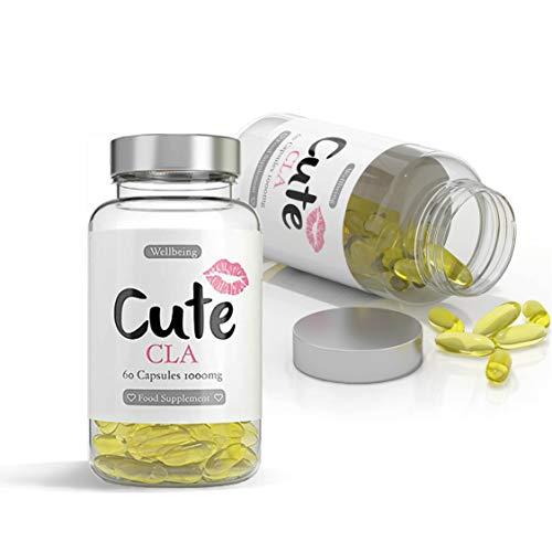 Cute Nutrition Capsule CLA Softgel 1000mg Non OGM Capsule di Acido Linoleico Coniugato Naturale ad Alta Resistenza per Donne 2x 60 Capsule