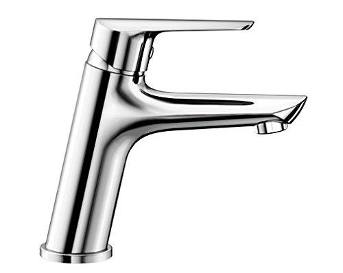 Blanco NEWA-WT Waschtischarmatur, Einhebelmischer für Badezimmer, Wasserhahn für Bad-Waschbecken, Oberfläche chrom - mit Ablaufgarnitur