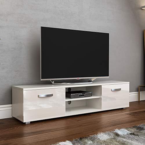 Vida Designs Cosmo TV de 2 Puertas, Moderno, Brillante, Mate, para Sala de Estar, Mueble de 160 cm, Color Blanco, 160cm-No LED Lights