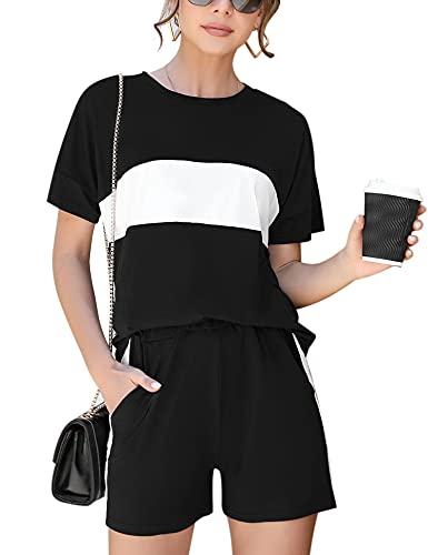 Doaraha Traje Corto Casual para Mujer, Conjunto de Camisaeta con Cuello Redondo y Pantalón Corto, Conjunto de Chándal Deportivo Corto con Rayas de Costuras para Verano, Negro, L