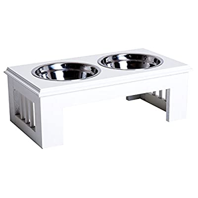 Pawhut Stainless Steel Pet Feeding Bowl Raised Elevated Twin Dog Bowls Water Food Feeder by Sold by MHSTAR