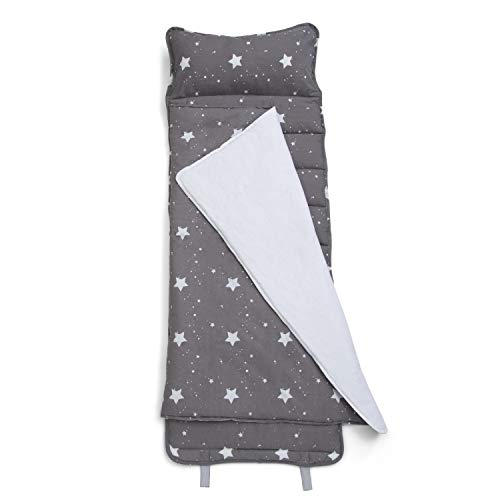 Delta Children Nap Mat with Included Pillow and Blanket for Toddlers and Kids; Features Carry Handle with Strap Closure and Name Tag; Rollup Design is Ideal for Preschool and Daycare, Dusty Skies