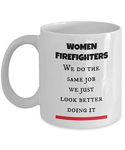 Cukudy dunne rode lijn brandweerman vrouwen geschenken Cup als gezien op Shirts beste brandweerman koffie thee mok voor moeder, vrouw, vriendin of elke dame die dragen de brandweer kostuum en gebruik Fire Truck Gear