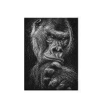 ゴリラ顔動物壁アートポスターHdプリントキャンバス絵画ホームリビングルーム寝室アートワークギフト装飾写真-50x75CMフレームなし