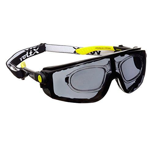 voltX 'QUAD' 4 in 1, FULL LENS Leesinzet Veiligheidsbril (+2,0 Dioptrie, ROOKKLEURIG/GRIJS LENS), met Inzet in Schuim, Afneembare Hoofdband, CE EN166f Gecertificeerd