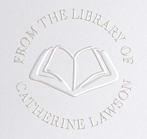"""Library Book Embosser Seal Stamp Personalized Customized 1 x 5/8"""" (Open Book)"""
