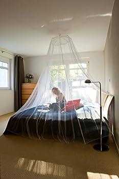 Tesa Insect Stop Moustiquaire Voile COMFORT ? Ciel de Lit Anti-Insectes avec Crochet Adhésif ? Pour le Voyage et la Maison ? Lit Simple ou Double ? Avec Sac de Transport ? Blanc