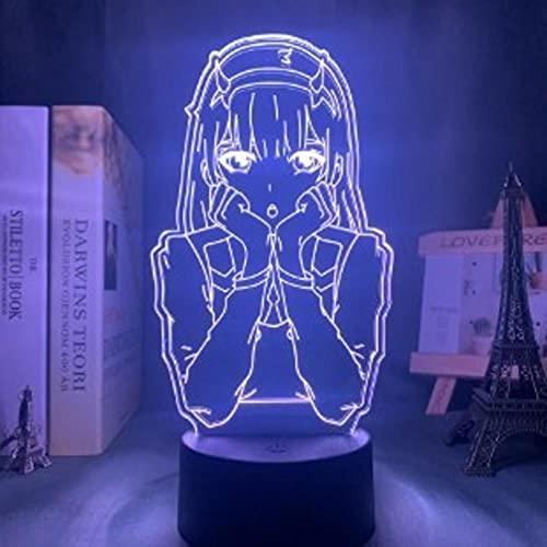 Anime Lights 3D Led, Anime Zero Two Figure Lámpara 3d Luz de noche Niños Niño Niñas Decoración de Dormitorio Luz Manga Regalo, Lámpara de luz nocturna Darling In The Franxx Luces Nocturnas