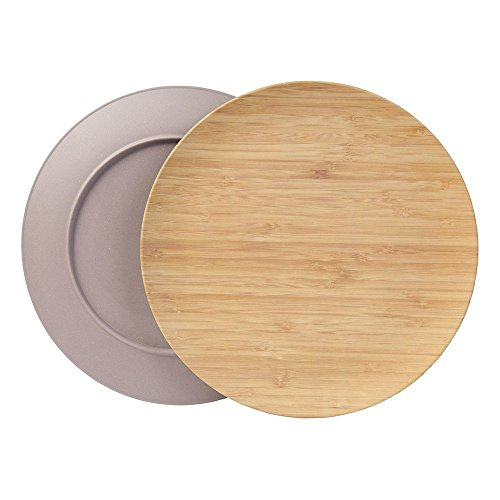 BIOZOYG Nachhaltiges Tellerset I Kinderteller Campingteller Holzteller Kuchenteller Speiseteller Bambusgeschirr I 4 Stück Bambus Teller flach rund 25,5 cm grau, BPA frei