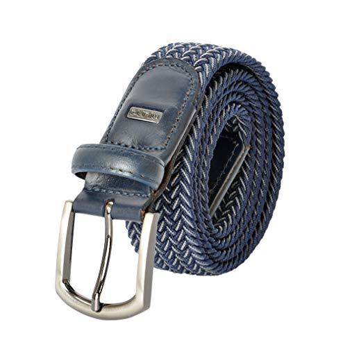Miuno® Unisex Elastischer Strechgürtel mit Lederdetails Stoffgürtel Geschenkbox 2611 (100Bw.(110cm), Navyblau_004)