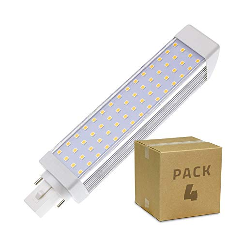 LEDKIA LIGHTING Pack Bombilla LED G24 12W (4 un) Blanco Frío 6000K - 6500K