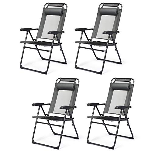 Giantex Set of 4 Patio Dining Chairs, Folding Lounge Chairs with 7 Level Adjustable Backrest, Headrest, 300 Lbs Capacity, Outdoor Portable Chairs with Metal Frame (4, Gray)