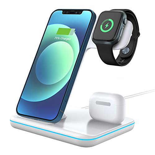 POWERGIANT Stazione di Ricarica Wireless 3 in 1 Qi Ricarica Veloce, Compatibile con Airpods Pro/2/1 iWatch 6/SE/5/4/3/2/1 iPhone 12/12Pro/11/XS Max Sumsung 10+/S10+ Huawei P30 PRO