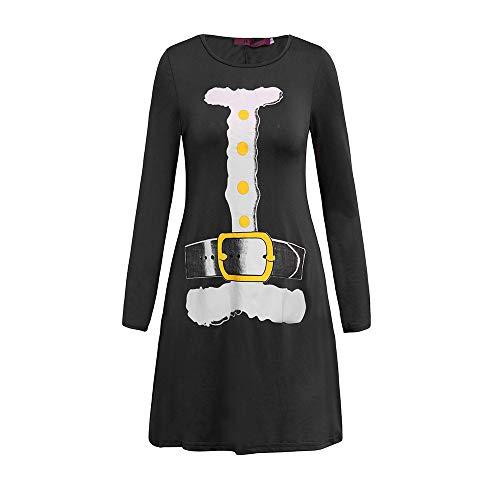 Europa und die Vereinigten Staaten Herbst und Winter Weihnachten drucken Casual Fashion Langarm Damen Kleid schwarz 02 2XL