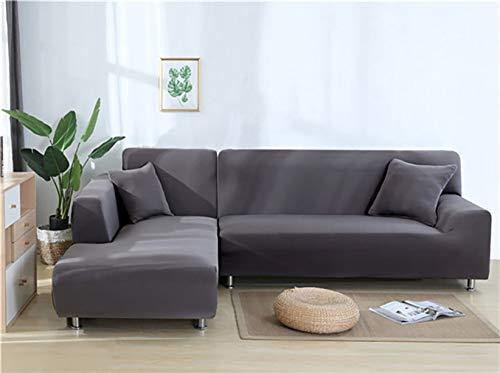 YANJHJY - 1 Fundas elásticas de Licra de Color sólido para sofá, para Sala de Estar, Fundas seccionales de Licra de Color sólido para Esquinas, Funda de sofá, Gery, 2, Asiento y 4, Asiento