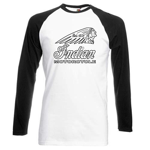 Hengtaichang Retro Vintage Indian Motorcycle Biker Long Sleeved Baseball Premium T-Shirt